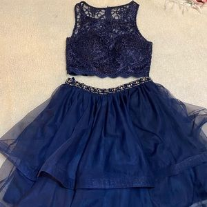 Formal navy blue two-piece dress, size 5
